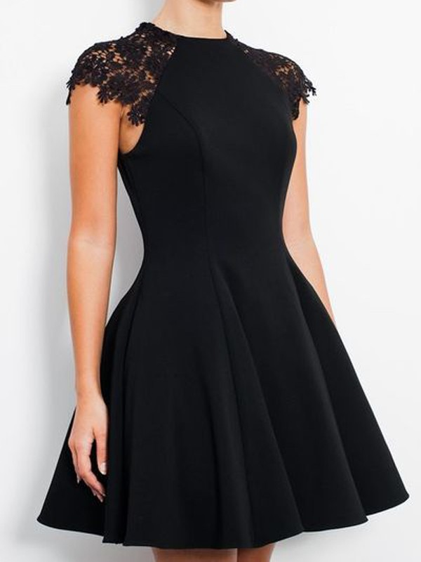 Fashional A-Line Scoop Cut Jersey Short Dresses With Lace