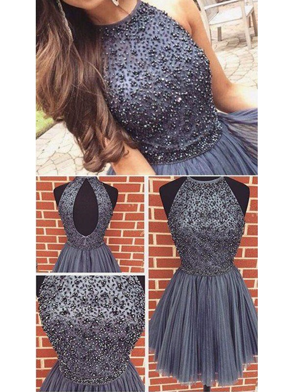 Awesome A-Line Scoop Cut Tulle Short Dresses With Beading