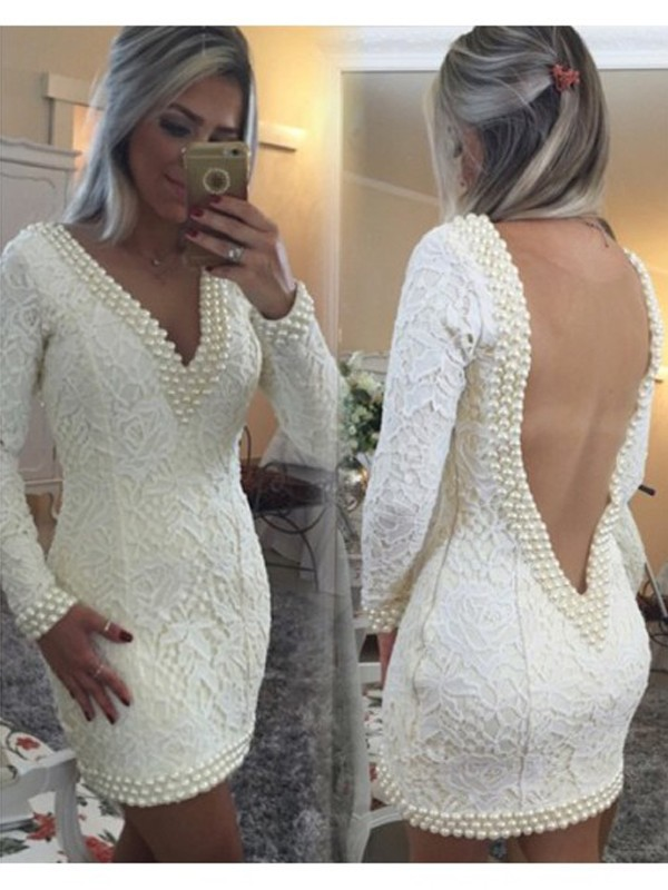 Stunning A-Line V-neck Cut Lace Short Dresses With Pearls