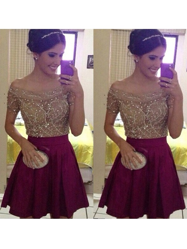 Glamorous A-Line Off-the-Shoulder Cut Satin Short Dresses With Beading