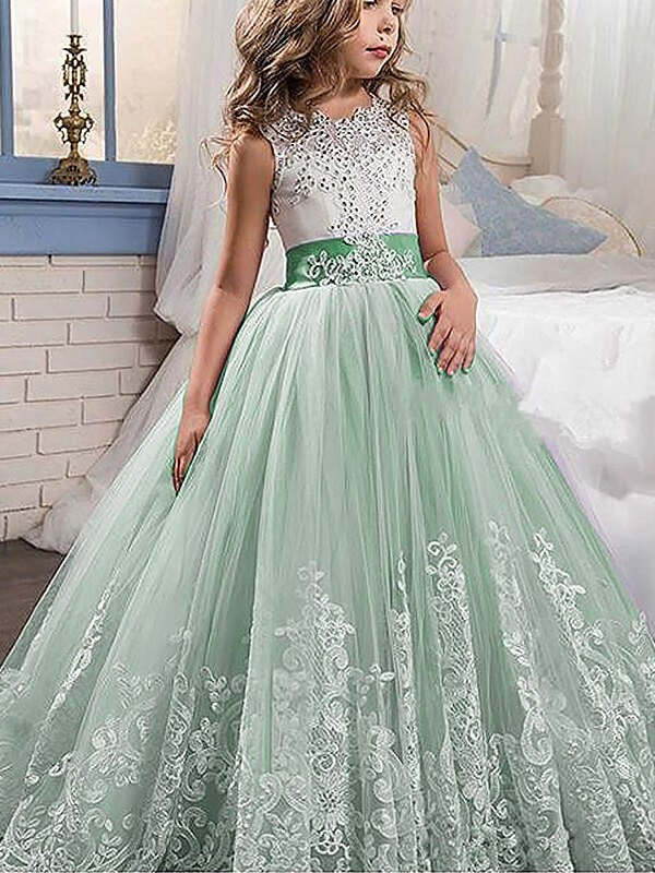 Shining Ball Gown Jewel Cut Tulle Long Flower Girl Dresses With Lace