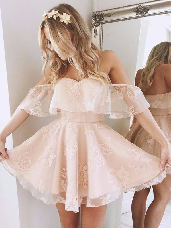 Pretty A-Line Off-the-Shoulder Cut Lace Short Dresses With Ruffles
