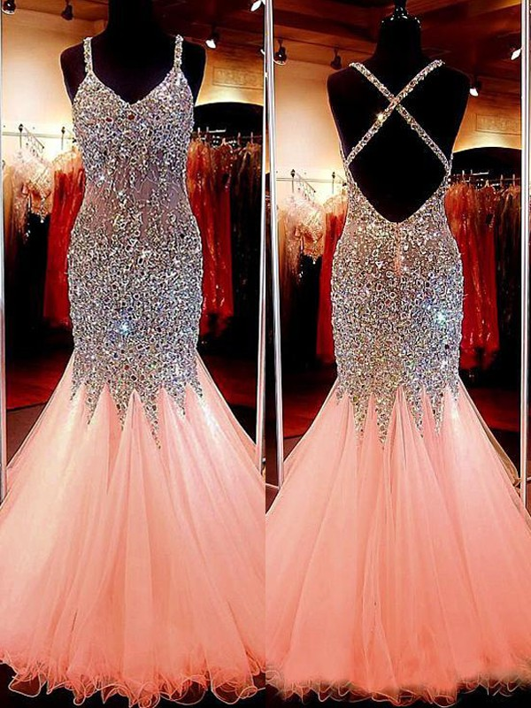Lovely Mermaid V-neck Cut Tulle Long Dresses With Sequin