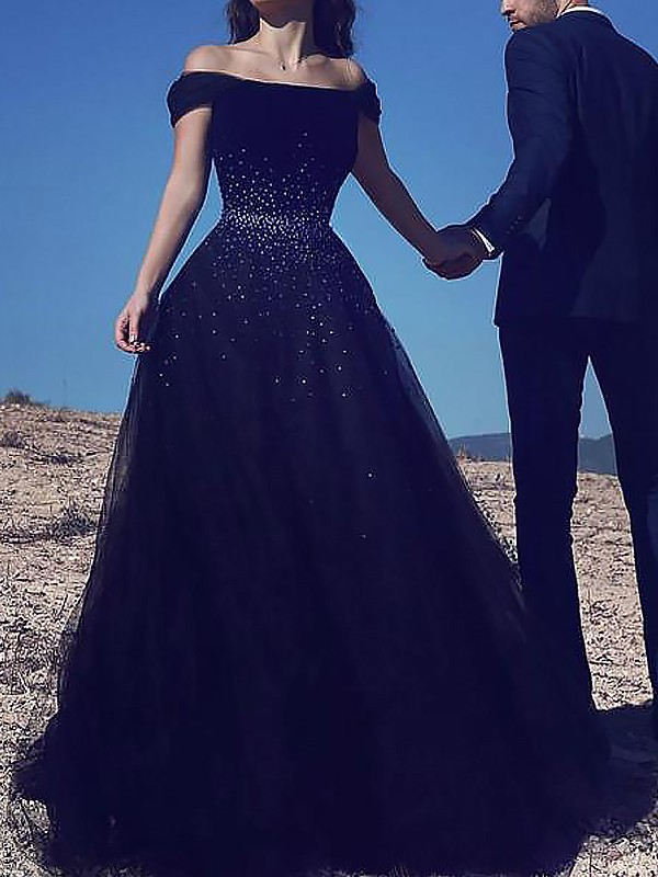 Hot Ball Gown Off-the-Shoulder Cut Tulle Long Dresses With Beading