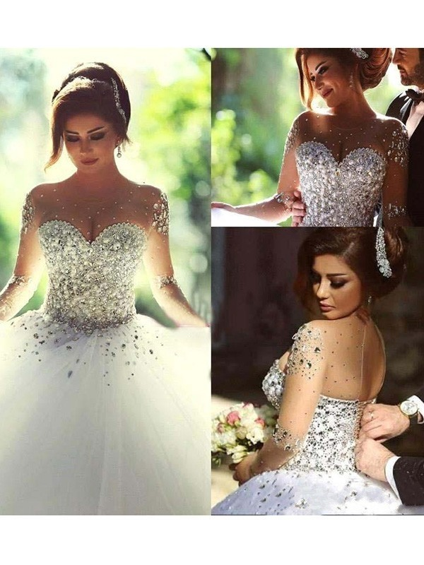Radiant Ball Gown Scoop Cut Tulle Long Wedding Dresses With Beading