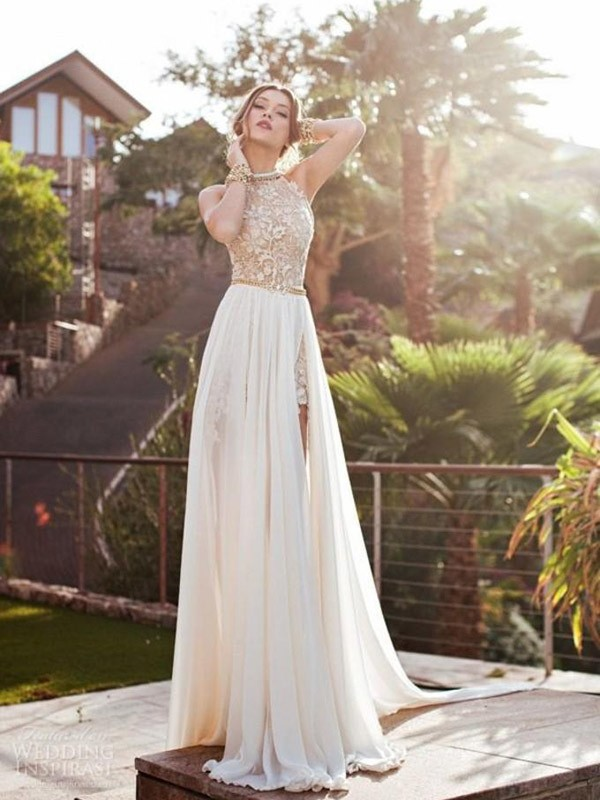 Hot A-Line Halter Cut Chiffon Long Dresses With Lace