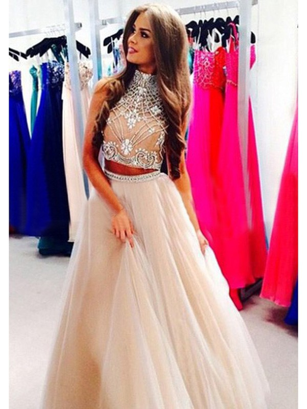 Pretty A-Line High Neck Cut Tulle Long Two Piece Dresses With Beading