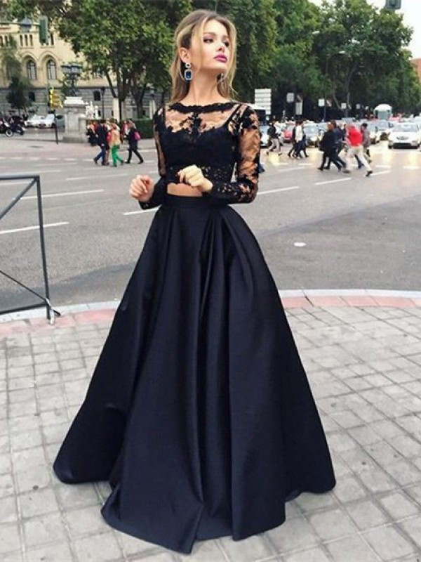 Elegant Ball Gown Bateau Cut Satin Long Dresses With Beading