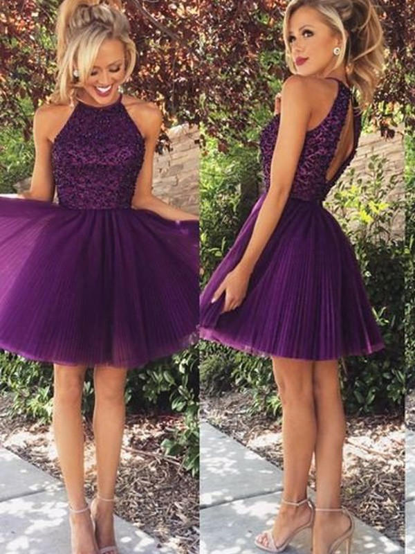 Stylish A-Line Halter Cut Tulle Short Dresses With Beading