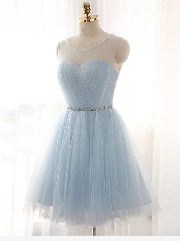 Popular A-Line Scoop Cut Tulle Short Dresses With Beading