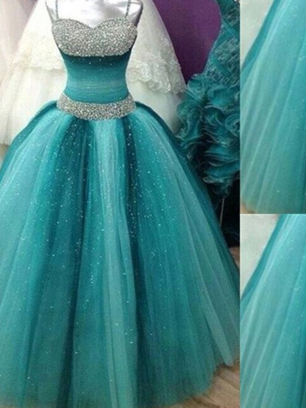 Popular Ball Gown Spaghetti Straps Cut Tulle Long Dresses With Beading