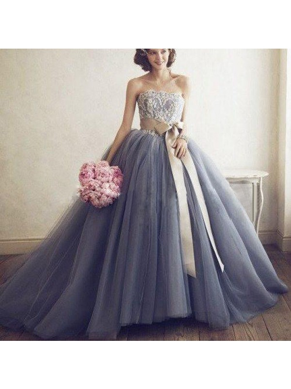 Radiant Ball Gown Sweetheart Cut Tulle Long Dresses With Applique