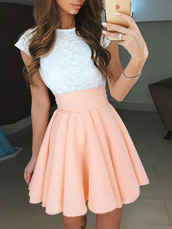 Special A-Line Jewel Cut Chiffon Short Dresses With Lace