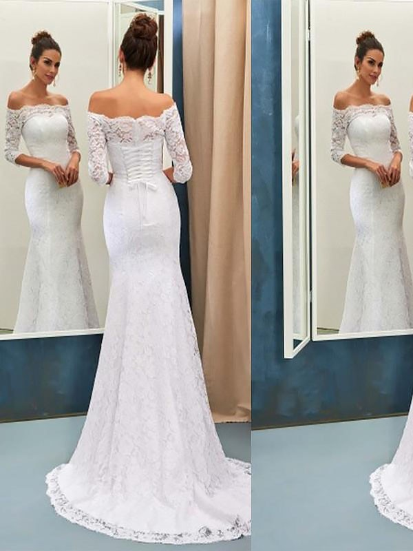 Stylish Mermaid Off-the-Shoulder Cut Lace Long Wedding Dresses With Ruffles