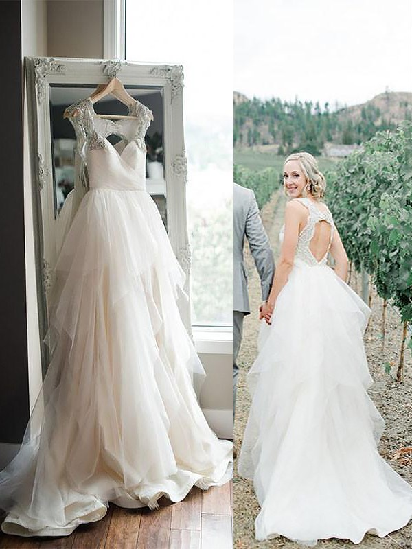 Amazing A-Line Straps Cut Tulle Long Wedding Dresses With Ruffles