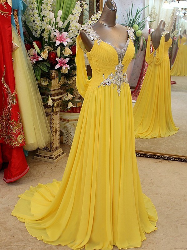 Graceful A-Line Straps Cut Chiffon Long Dresses With Beading