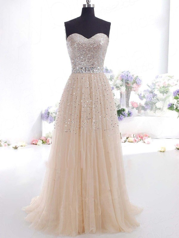 Smart A-Line Sweetheart Cut Tulle Long Dresses With Ruffles