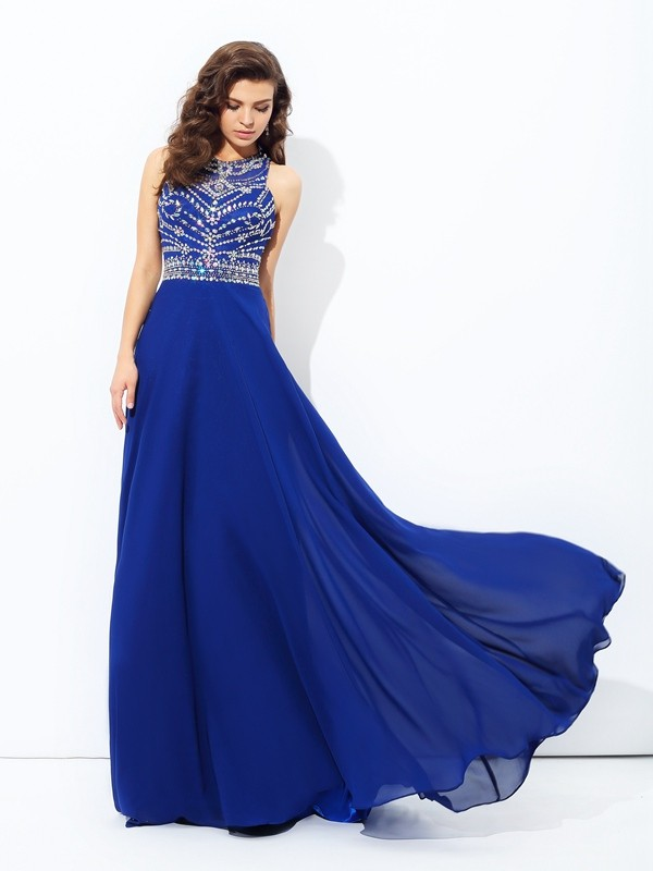a4f1dd5044be Brilliant A-Line Scoop Cut Chiffon Long Dresses With Beading ...