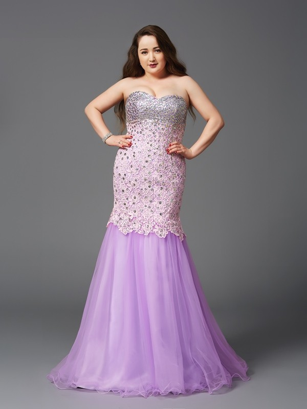 Brilliant Mermaid Sweetheart Cut Net Long Plus Size Dresses With Beading