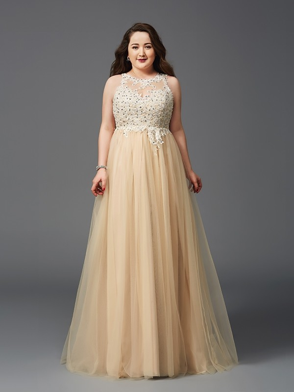 Chic A-Line Scoop Cut Net Long Plus Size Dresses With Rhinestone ...