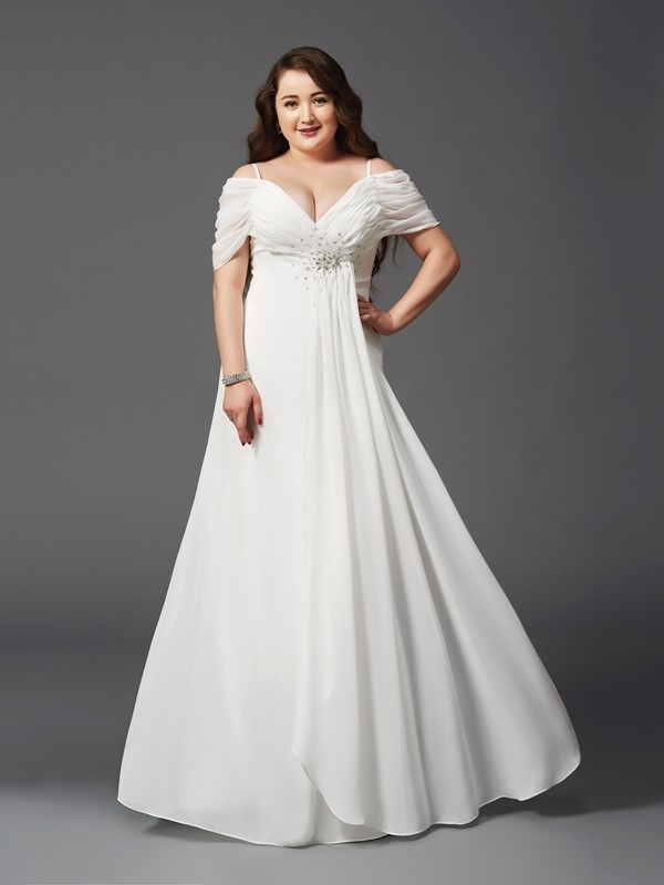 Modern A-Line Off-the-Shoulder Cut Chiffon Long Plus Size Dresses With  Ruched