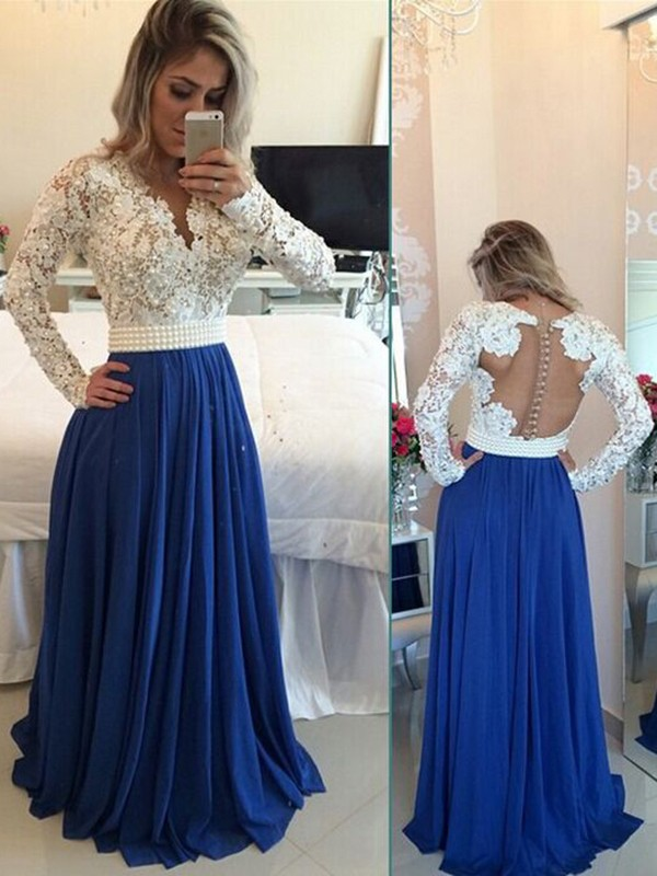 36d95e7f8a1 Lovely A-Line V-neck Cut Chiffon Long Dresses With Ruffles