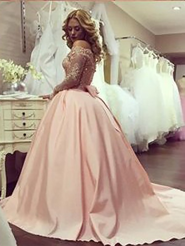 7bb350ad455 Ball Gown Long Sleeves Off-the-Shoulder With Beading Satin Floor-Length  Dresses