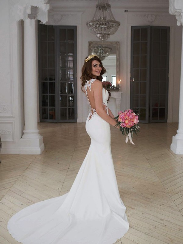 Lovely Mermaid Scoop Cut Lace Long Wedding Dresses With Applique ...