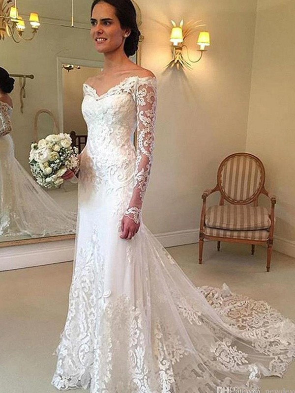 bfea7ed80e44f Mermaid Off-the-Shoulder Court Train Long Sleeves With Applique Lace  Wedding Dresses