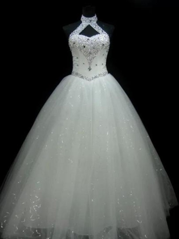 ee415c1df57 Bright Ball Gown Halter Cut Tulle Long Wedding Dresses With Beading ...
