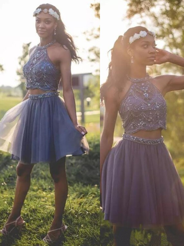 Awesome A-Line Halter Cut Short With Beading Tulle Dresses ... ef2c47b09
