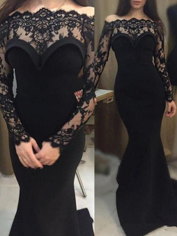 0855e127c2a Trumpet Mermaid Long Sleeves Off-the-Shoulder Sweep Brush Train Lace Elastic