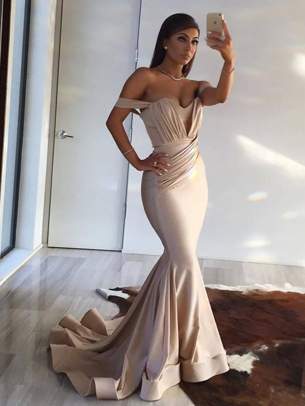 e2a237fc5d Trumpet Mermaid Sleeveless Off-the-Shoulder Sweep Brush Train Ruffles Satin  Dresses