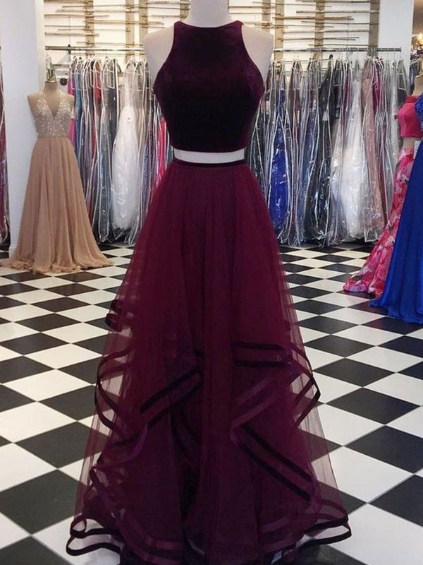 e67fc2a323f A-Line Princess Scoop Sleeveless Floor-Length Ruffles Tulle Dresses ...
