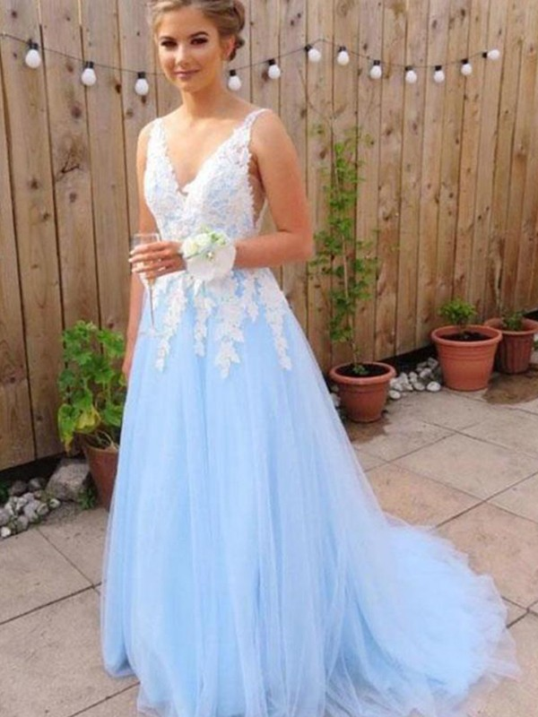 ef47f354a6d A-Line Princess V-neck Sleeveless Sweep Brush Train Applique Tulle Dresses