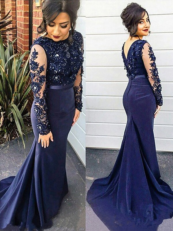 Attractive Mermaid Scoop Cut Silk like Satin Long Plus Size Dresses With  Lace