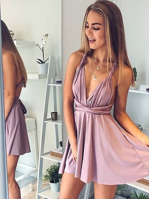 7173758af21 Awesome A-Line V-neck Cut Silk like Satin Short Dresses With Ruffles ...