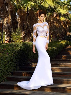 Lovely Sheath Scoop Cut Satin Long Wedding Dresses With Applique