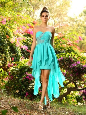Hot A-Line Sweetheart Cut Chiffon High Low Bridesmaid Dresses With Beading