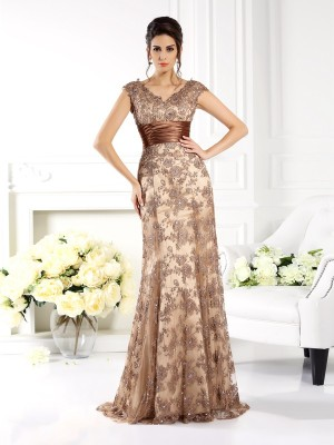 Hot A-Line V-neck Cut Lace Long Mother of the Bride Dresses With Ruffles