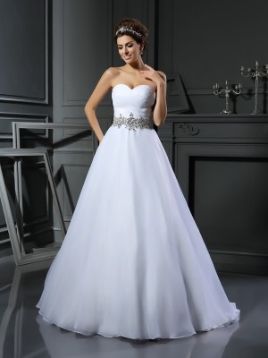 Smart Ball Gown Sweetheart Cut Satin Long Wedding Dresses With Beading