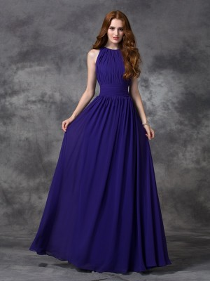 Stunning A-Line Jewel Cut Chiffon Long Bridesmaid Dresses With Ruched