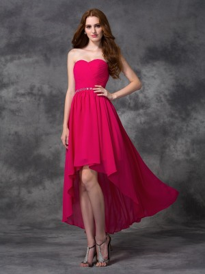 Shining A-Line Sweetheart Cut Chiffon High Low Bridesmaid Dresses With Beading