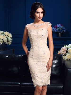 Charming Sheath Sheer Neck Cut Lace Short Mother of the Bride Dresses With Lace