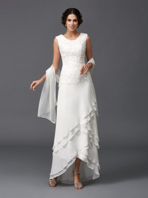 Romantic A-Line Scoop Cut Chiffon Short Mother of the Bride Dresses With Lace