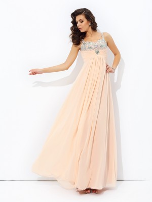 Delicate A-Line Spaghetti Straps Cut Chiffon Long Dresses With Beading