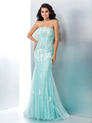 Sweet Mermaid Strapless Cut Lace Long Dresses With Applique