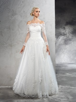 Exquisite Ball Gown Off-the-Shoulder Cut Net Long Wedding Dresses With Lace