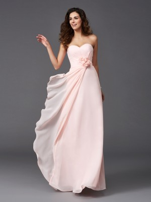 Exquisite A-Line Sweetheart Cut Chiffon Long Bridesmaid Dresses With Hand-Made Flower