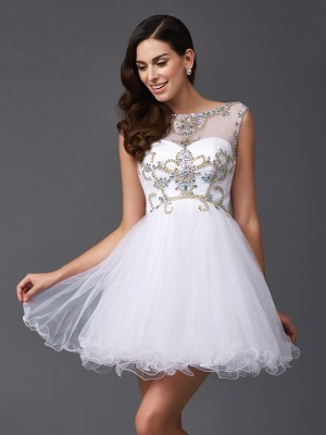 Fashional A-Line Scoop Cut Net Short Dresses With Beading